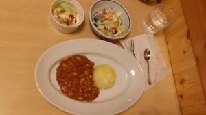 キーマカレー、フルーツヨーグルトサラダ、白玉抹茶アイス